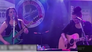 Melanie Morin and Nancy Palladino of Chicks with Picks in Sudbury performs Torn by Natalie Imbruglia.