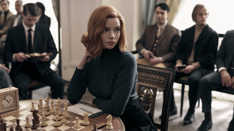 """This image release by Netflix shows Anya Taylor-Joy from the series """"The Queen's Gambit."""" """"The Queen's Gambit,"""" """"Lovecraft Country"""" and """"What We Do in the Shadows"""" are among the series featured in a virtual edition of the Paley Center's annual festival. (Charlie Gray/Netflix via AP)"""