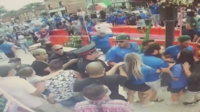 Security footage from the Hacienda Santa Teresa restaurant in Bradford West Gwillimbury, Ont. on Sun. July 11, 2021, shows a large crowd. (Supplied)