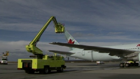 YVR officials say the airport -- not the airlines -- will now oversee de-icing during the winter, which should result in shorter delays. Nov. 17, 2009.