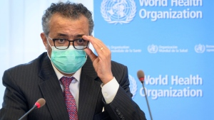 In this Monday, May 24, 2021 file photo, Tedros Adhanom Ghebreyesus, Director General of the World Health Organization (WHO), speaks at the WHO headquarters, in Geneva, Switzerland. (Laurent Gillieron/Keystone via AP, File)