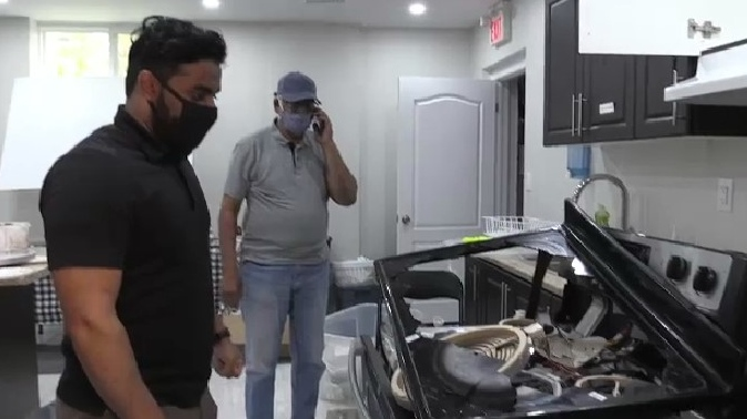 Fatir Ahmad shows CTV Kitchener the damage caused by vandals inside the Bai'tul Kareem Mosque in Cambridge. (July 15, 2021)