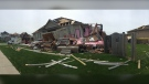 Damage to a home on Majesty Boulevard in Barrie after an EF-2 tornado struck the neighbourhood on Thu., July 15, 2021. (Roger Klein/CTV)