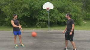 CTV's Will Aiello and Pure Country's Josh Corbett play basketball at a Greater Sudbury Park in this week's Explore the Outdoor adventure.