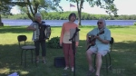Tonight's closing song features Louise and Brian Williams from Elliot Lake, together with Rose Neufeld, who perform the Log Driver's Waltz.