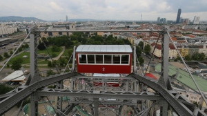 The skyline of the city of Vienna form the giant ferris wheel at the amusement park Wiener Prater in Vienna, Austria, Friday, May 29, 2020.  (AP Photo/Ronald Zak)