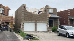 A damaged home on Sat. July 17, 2021 after an EF-3 tornado passed through Barrie, Ont. (Katelyn Wilson/CTV News)