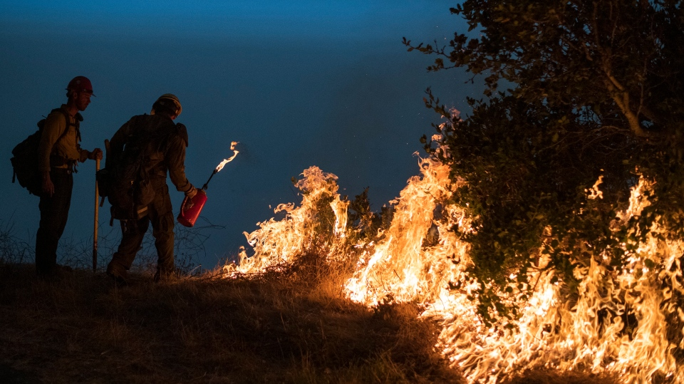 firefighters light a controlled burn