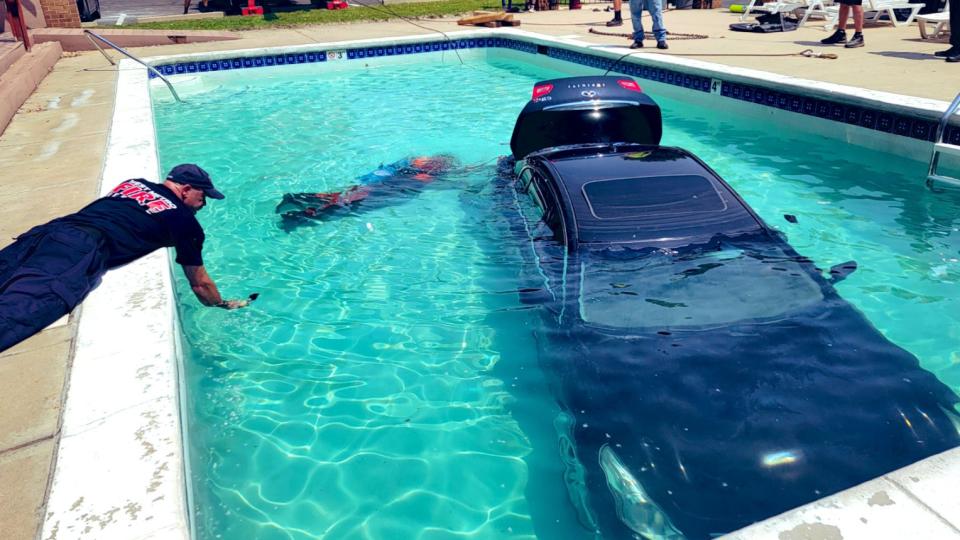 Car in Colorado swimming pool