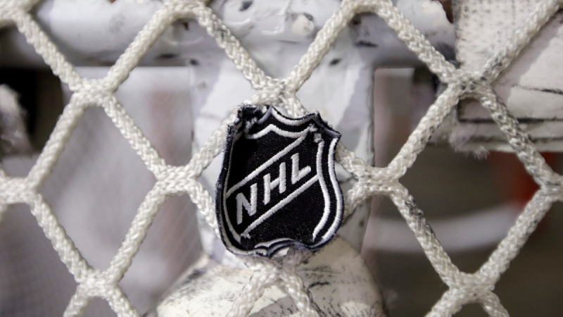 The NHL logo is seen on a goal net at a Nashville Predators practice rink in Nashville, Tenn. on Sept. 17, 2012.  (Mark Humphrey / THE CANADIAN PRESS / AP)