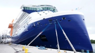 The Celebrity Edge is moored at Port Everglades, Saturday, June 26, 2021, in Fort Lauderdale, Fla. Celebrity Edge is the first cruise ship to leave a U.S. port since the coronavirus pandemic began. (AP Photo/Marta Lavandier)