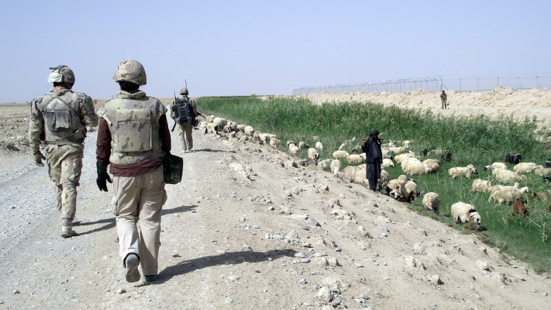 A Canadian patrol passes a local sheep herder during a visit to Tarnak Farms on Thursday Sept. 9, 2010. (THE CANADIAN PRESS/Dene Moore)