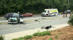 Ottawa paramedics say a man in his 20s was taken to the trauma centre in critical condition following this crash on the Vanier Parkway Tuesday, July 20, 2021. (CTV News Ottawa)