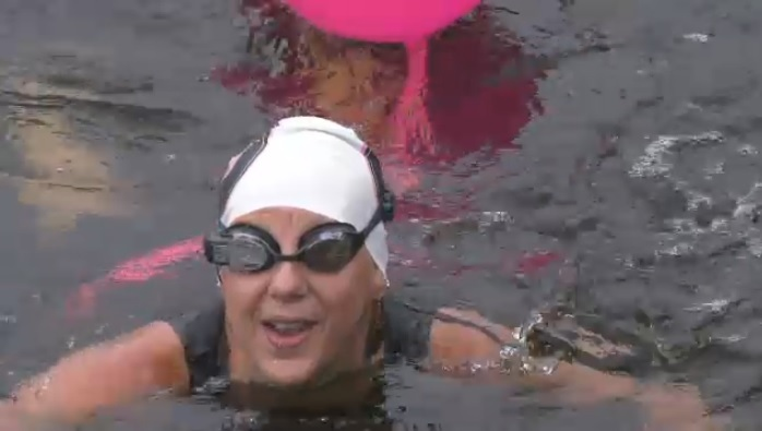 Kimberley Davis has been going for a lot of dips in Cape Breton's Mira River these days.