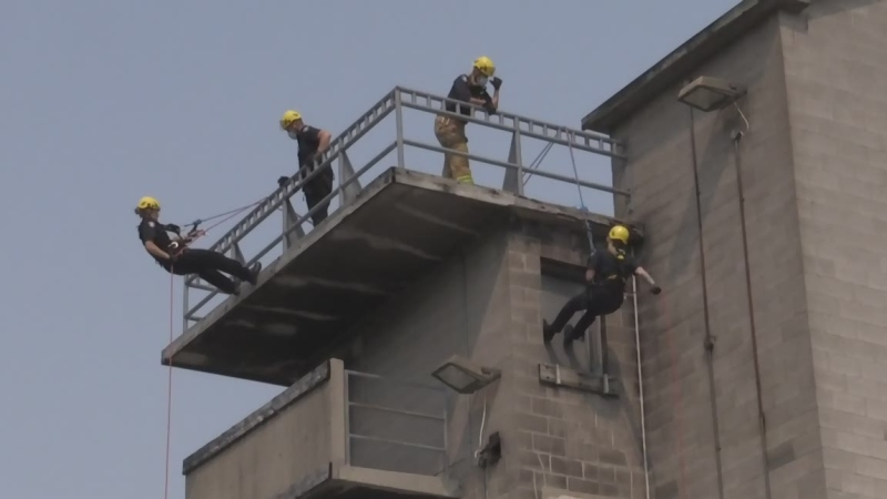 London firefighters resume sky-high training