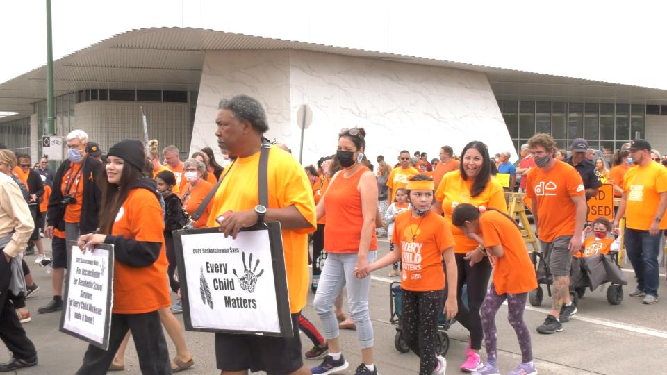 More than 200 people wore orange t-shirts Tuesday afternoon and walked downtown alongside the Saskatoon Tribal Council (STC). (Miriam Valdes-Carletti/CTV Saskatoon)
