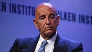 Tom Barrack, a former adviser to former President Donald Trump,  pictured here on April 2019, was charged with illegal foreign lobbying on behalf of the United Arab Emirates. (Michael Kovac/Getty Images/FILE via CNN)