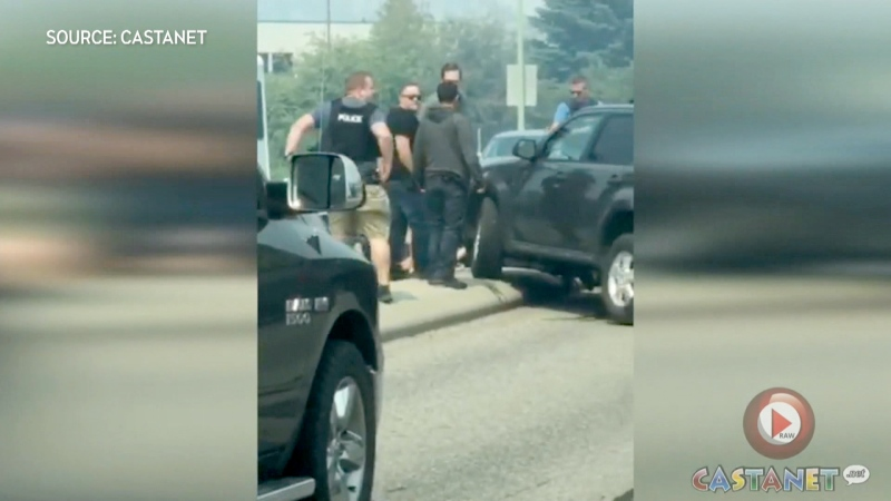 A truck stolen in Calgary was involved in a dramatic takedown in Kelowna, which was caught on tape. (Contributed)