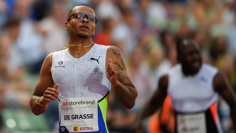 Canada's Andre De Grasse wins the men's 200m at the Diamond League meeting in Oslo, Norway Thursday July 1, 2021. (Annika Byrd, NTB via AP)