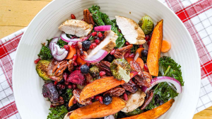 Kale Salad with Blueberry Vinaigrette and Maple Pecans