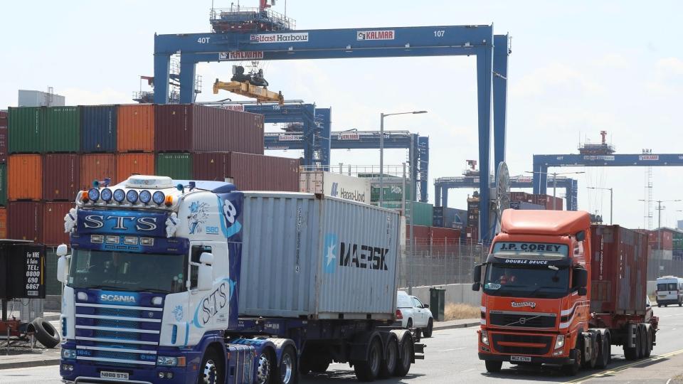 Heavy goods vehicles at Belfast Harbour
