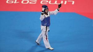 Fernanda Aguirre celebrates winning the bronze medal in the women's under 57kg taekwondo at the Pan American Games in Lima, Peru, on July 28, 2019. (Fernando Vergara / AP)