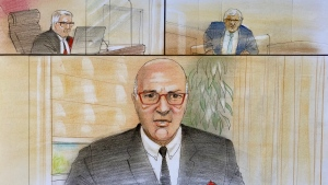Kevin O'Leary testifies virtually in the trial of his wife, Linda. (CTV News Toronto/John Mantha)