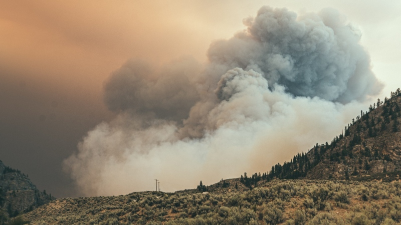 Nk'Mip Creek fire at the RCMP perimeter at approximately 5 p.m. on Monday, July 19, 2021. (Kyle Murray photo)