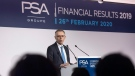CEO of PSA Groupe Carlos Tavares speaks during the presentation of the company's 2019 full year results, in Rueil-Malmaison, west of Paris, Wednesday, Feb. 26, 2020. (AP Photo/Michel Euler)