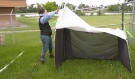 A team from the University of Guelph has set a number of fly traps and is collecting samples. Tents are being set up in northern Ontario's boreal forest. Known as a 'malaise' tent, it's used to trap insects. (Photo from video)