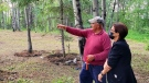 Lac La Ronge Indian Band Chief Tammy Cook-Searson at the site of a former residential school as it gets prepped for ground penetrating radar. (Tammy Cook-Searson/Facebook)