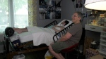 Tristan Roby and his mother Abby at home in London, Ont. on Wednesday, July 21, 2021. (Marek Sutherland / CTV News)