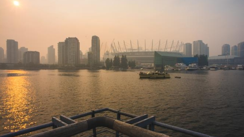 Wildfire smoke is seen in Vancouver in this photo from the BCCDC website.