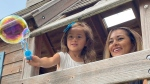 Alejandra Zetino, seen here with daughter Mila, has turned to social media to try and find an O+ living kidney donor. (Katie Griffin/CTV Ottawa)