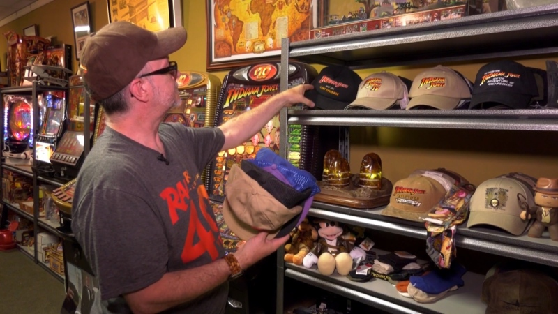 Les David has been collecting Indiana Jones memorabilia for the past 40 years, amassing what may be the world's largest collection in honour of the fictional adventuring archeologist. (Source: Jon Hendricks/ CTV News Winnipeg)