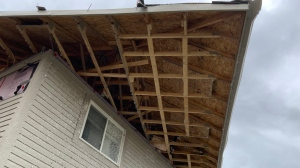 """Researchers take pictures of damaged homes with """"poor construction quality"""" in Barrie, Ont. following a tornado on July 15, 2021. (Gregory Kopp/Twitter)"""