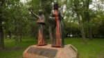 Statue in Wascana Park painted