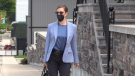 Linda O'Leary, who is charged in a 2019 boat crash that killed two people, arrives at a Parry Sound courtroom on Thursday July 22, 2021. (CTV News Barrie/Mike Arsalides)
