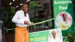 Federal Green party leader Annamie Paul cuts the ribbon of her campaign office in Toronto Centre on Thursday, July 22, 2021. THE CANADIAN PRESS/Cole Burston