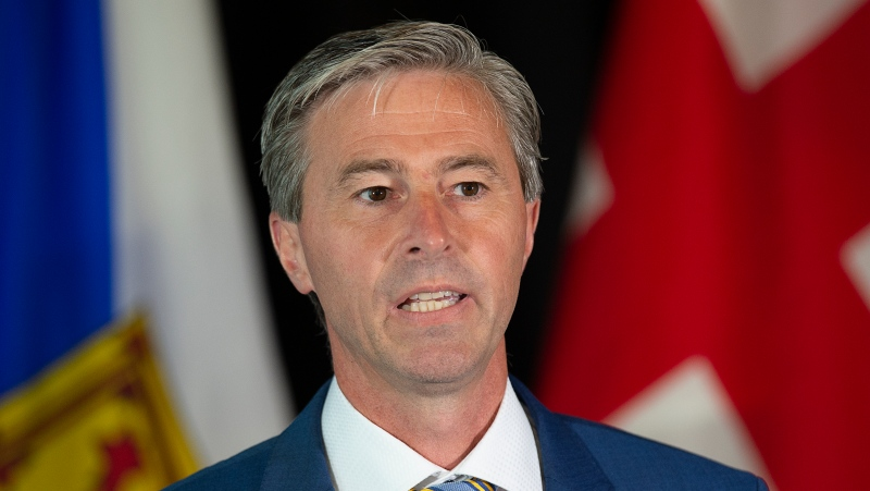 Nova Scotia Progressive Conservative leader Tim Houston unveils his party's complete and fully costed election platform in Halifax on Thursday, July 22, 2021. THE CANADIAN PRESS/Andrew Vaughan