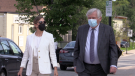 Linda O'Leary and her lawyer, Brian Greenspan, walk to a Parry Sound, Ont. courthouse in July 2021, for her careless boating trial. (Mike Arsalides/CTV News)