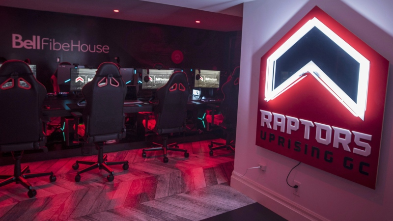 Raptors Uprising GC set the NBA 2K League single-game scoring record for the second time this season, sweeping Pacers Gaming on Thursday to extend its esports win streak to 13 games.The gaming area for the Raptors Uprising GC is seen at the Bell Fibe House in Toronto on Thursday, June 21, 2018. THE CANADIAN PRESS/ Tijana Martin