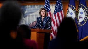 Speaker of the House Nancy Pelosi, D-Calif., meets with reporters at the Capitol in Washington, Thursday, July 22, 2021. (AP Photo/J. Scott Applewhite)