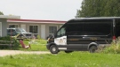 Ontario Provincial Police investigate on Thursday, July 22 after a man was found stabbed at a motel in Eganville. (Dylan Dyson/CTV News Ottawa)