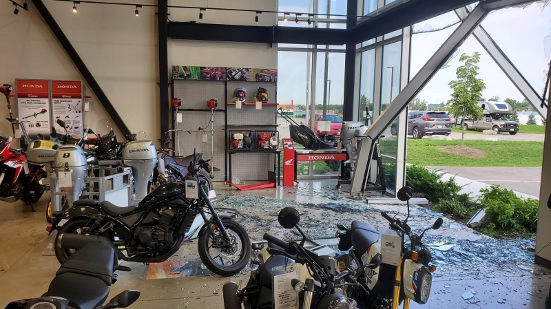 Damage after a break in and theft at Apex Cycle Sports in Cambridge. (Supplied by Apex Cycle Sports)