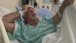 Todd Tuckey, of Barrie, was admitted to the ICU at Toronto Western hospital after suffering a brain aneurysm in June 2021. (Supplied)