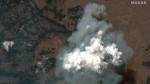 This satellite image provided by Satellite image ©2021 Maxar Technologies the Bootleg Fire in Oregon on Wednesday, July 21, 2021. (Satellite image ©2021 Maxar Technologies via AP)