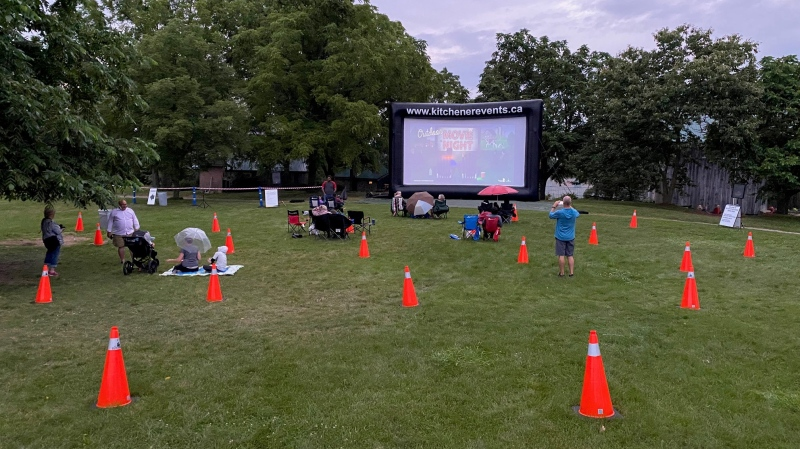 Residents start to gather at the first scheduled outdoor movie night at Steckle Farm. (Terry Kelly/CTV Kitchener) (July 23, 2021)