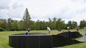 Kids test out the new pump track at Innisfil Beach Park in Innisfil on Thur., July 22, 2021. (Town of Innisfil/SUBMITTED)