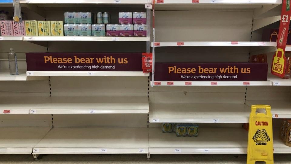 Empty store shelves in the U.K.